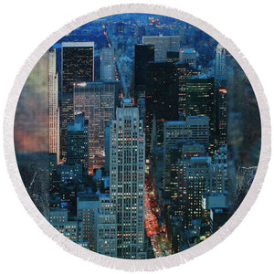 Manhattan At Night - Round Beach Towel - SEVENART STUDIO