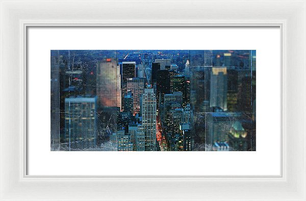 Manhattan At Night - Framed Print - SEVENART STUDIO