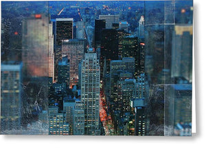 Manhattan At Night - Greeting Card - SEVENART STUDIO