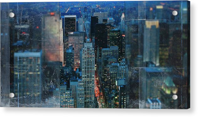 Manhattan At Night - Acrylic Print - SEVENART STUDIO
