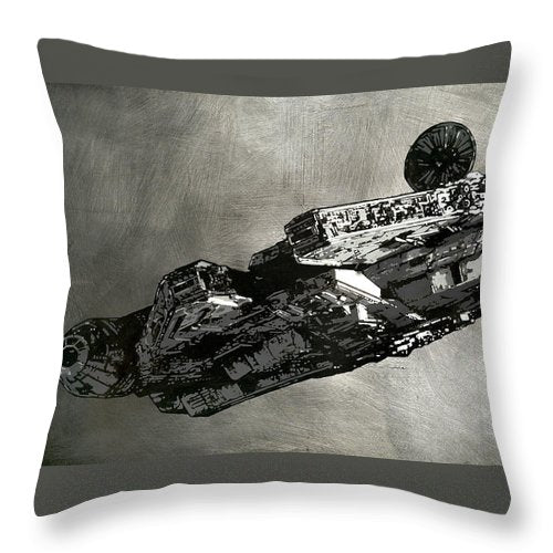 Millinneum Falcon - Throw Pillow - sevenart-studio