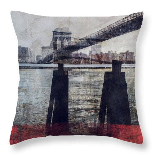 New York Pier - Throw Pillow - SEVENART STUDIO