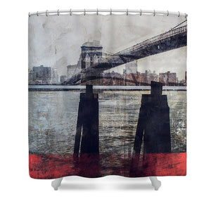 New York Pier - Shower Curtain - SEVENART STUDIO
