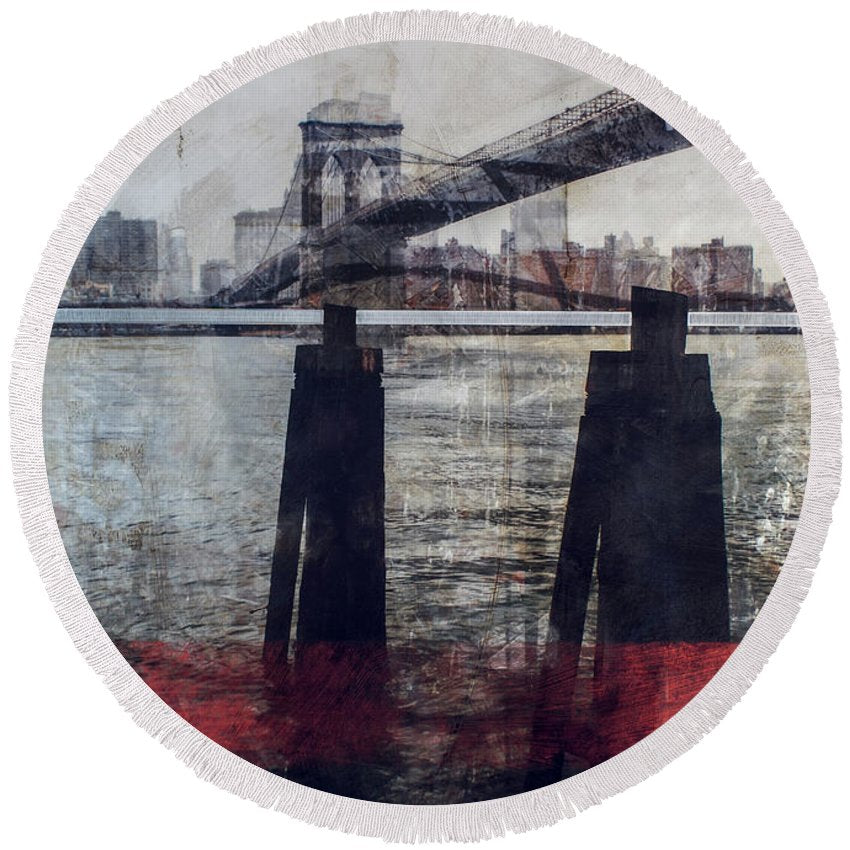 New York Pier - Round Beach Towel - sevenart-studio