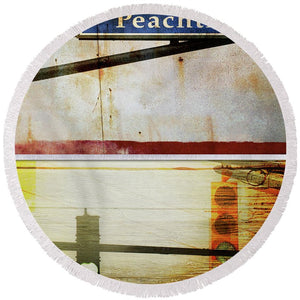 Peachtree Street - Round Beach Towel - SEVENART STUDIO