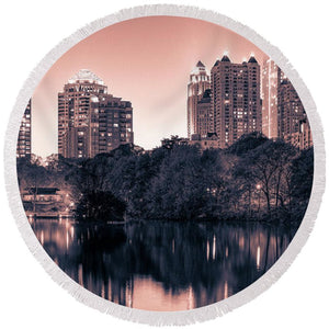 Reflecting Atlanta - Round Beach Towel - SEVENART STUDIO