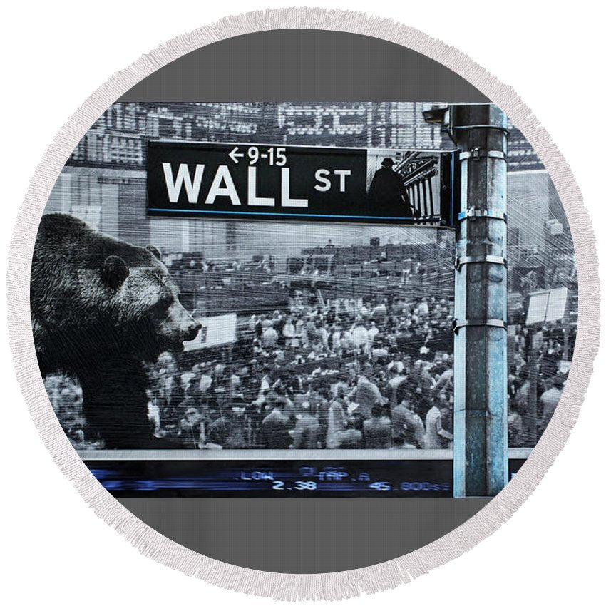 Wall Street - Round Beach Towel - sevenart-studio