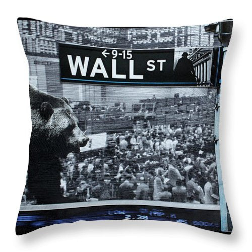 Wall Street - Throw Pillow - SEVENART STUDIO