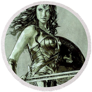 Wonder Woman - Round Beach Towel - SEVENART STUDIO