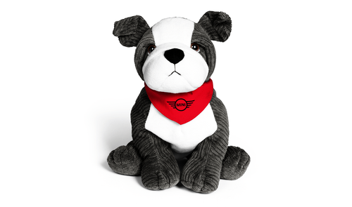 mini bulldog soft toy grey and white with red handkerchief