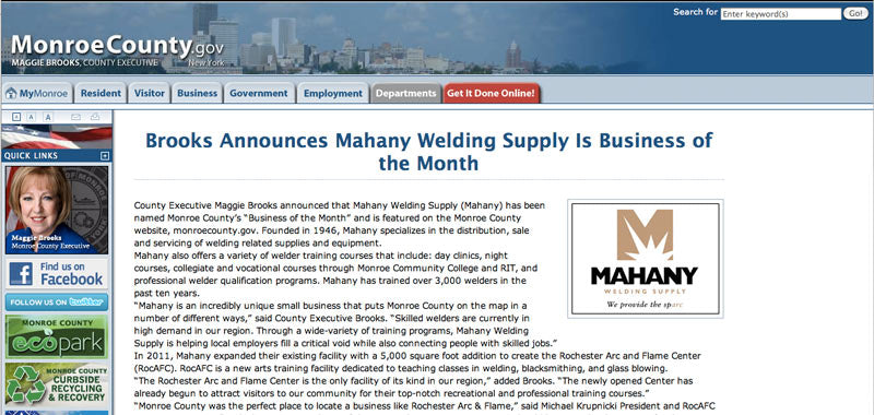 Mahany Welding Supply Named Business of the Month
