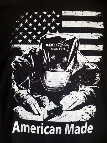 Arc + Flame T-Shirt: American Made Welding Design