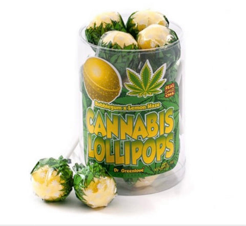 Bubblegum & lemon haze cannabis lollipops