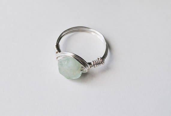 Seaflowerjewelry - Silver Raw Aquamarine Statement Ring