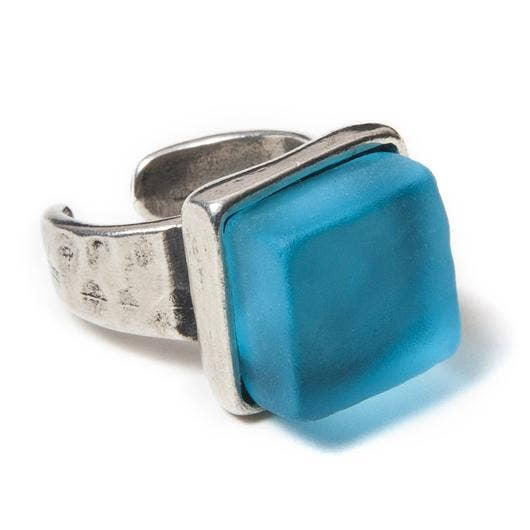 Smart Glass Recycled Jewelry - CUBE RING SILVER