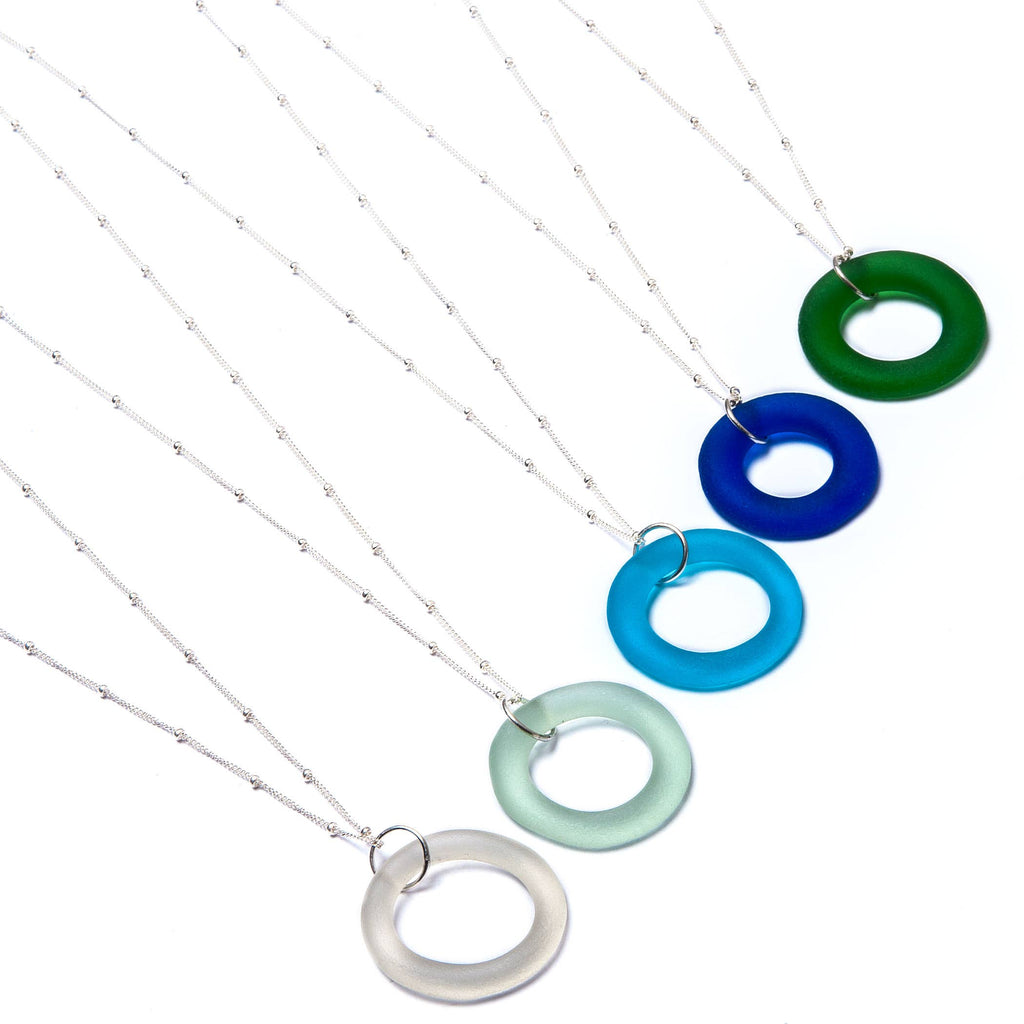 Smart Glass Recycled Jewelry - SET OF 6 Recycled Bottle Seaglass Style Necklace on Sterling