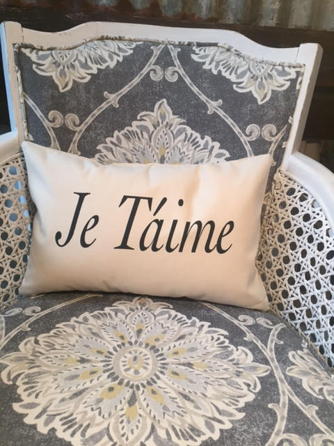 "Je Taime 12 x 18"" home decor, gift quote pillow"