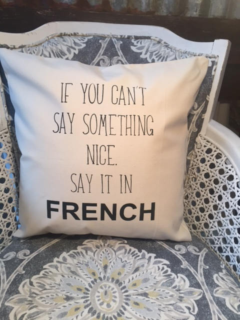 If you can't say something nice, say it in FRENCH pillow