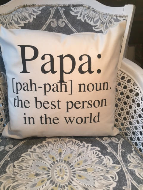 Papa definition pillow