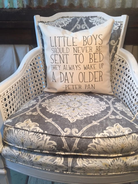 "Little Boys peter pan quote 18"" home decor, gift quote pillow"