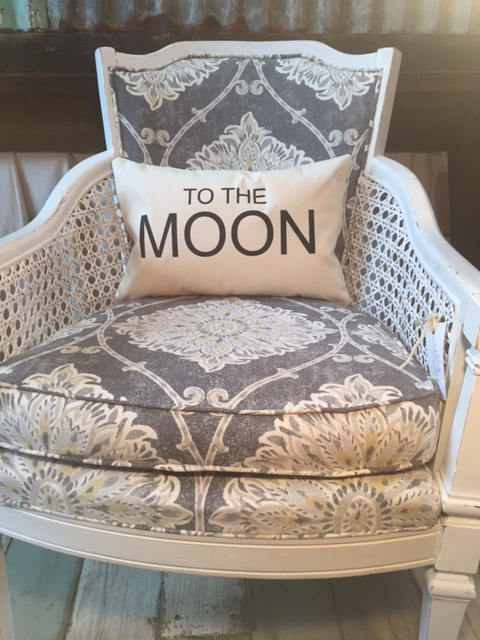 "to the moon 12 x 18"" home decor, gift quote pillow"