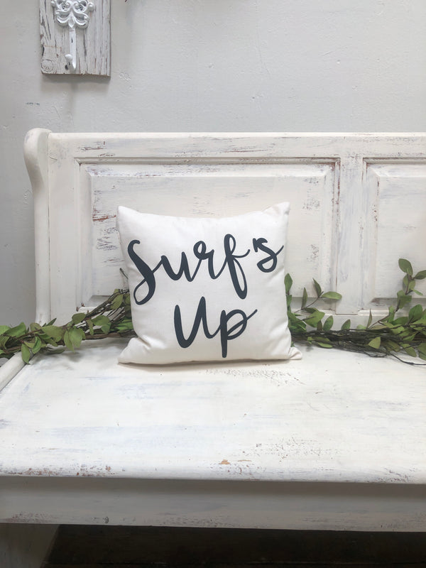 "Surf's up 14"" pillow, home decor, gift quote pillow"