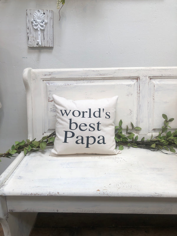 "Worlds best papa 14"" pillow, home decor, gift quote pillow"