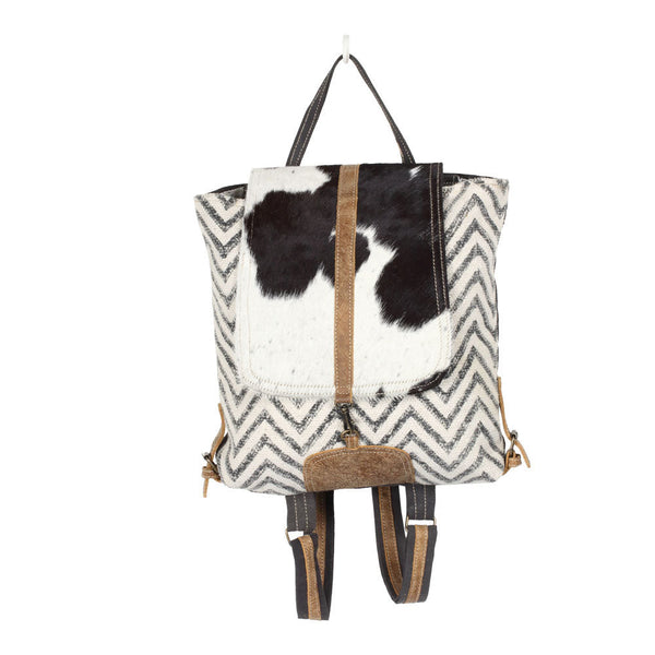 Chevron canvas and leather backpack