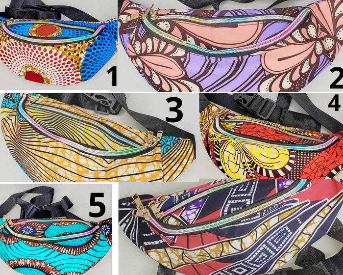 African print chic fanny packs