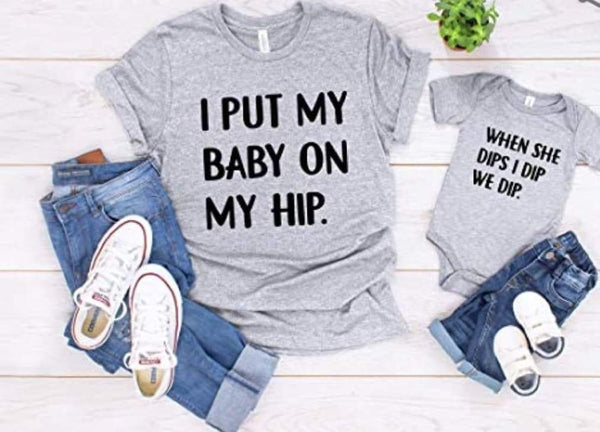 Mommy and Me Tshirt and Onesie Set