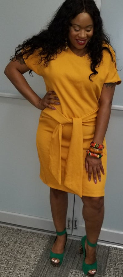 Pencil Dress with Waist Tie