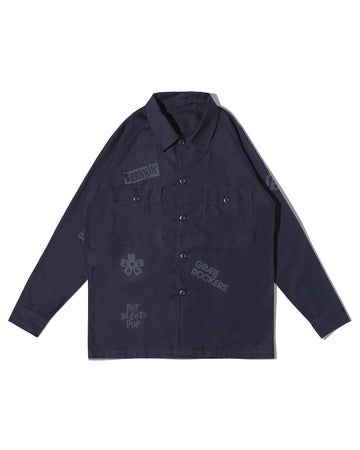 FATTY FATIGUE SHIRT NAVY REVERSE SATEEN F/W 20