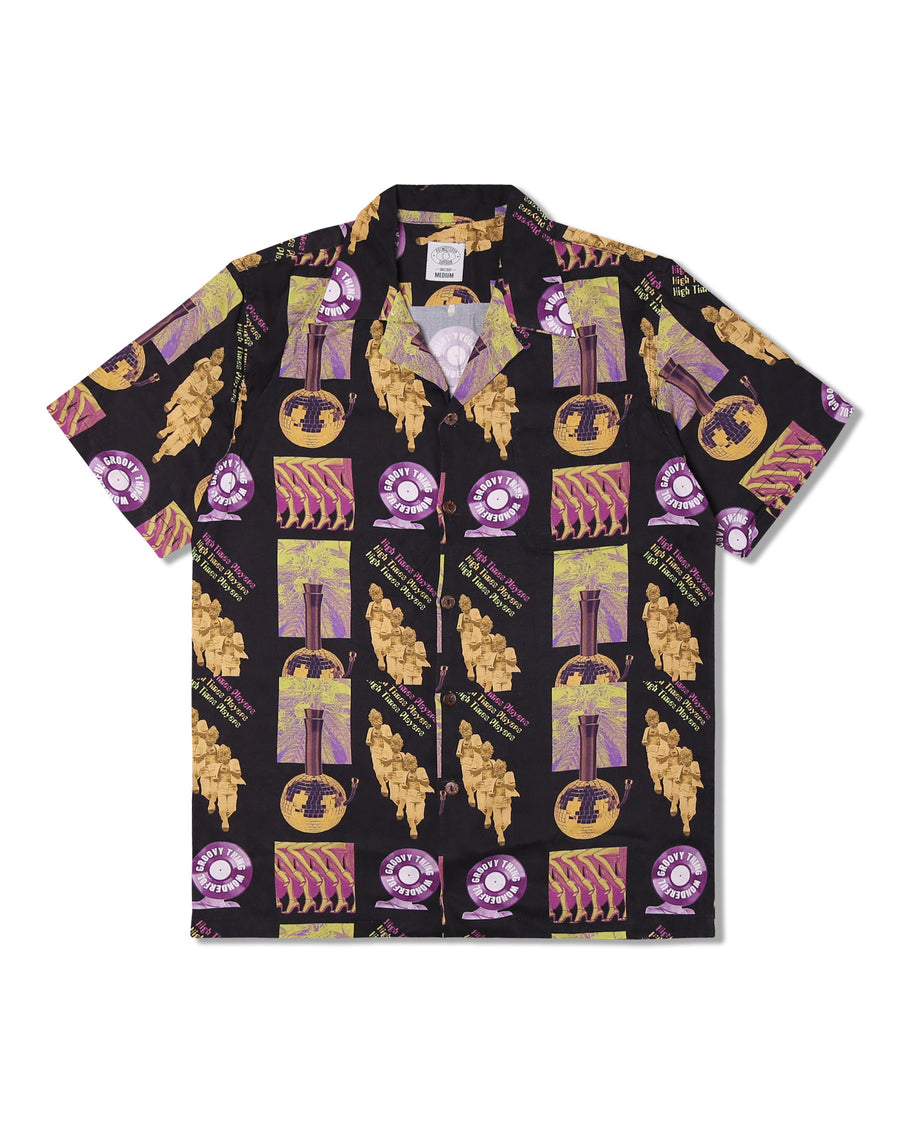 HIGH TIMES PLAYERS ALOHA SHIRT BLACK F/W 19
