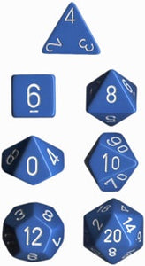 Chessex: Poly Set (7 Dice): Opaque: Light Blue / White (25416)