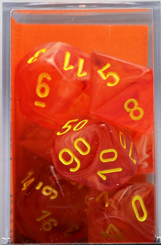 Chessex: Poly Set (7 Dice): Ghostly Glow: Orange / Yellow (27523)