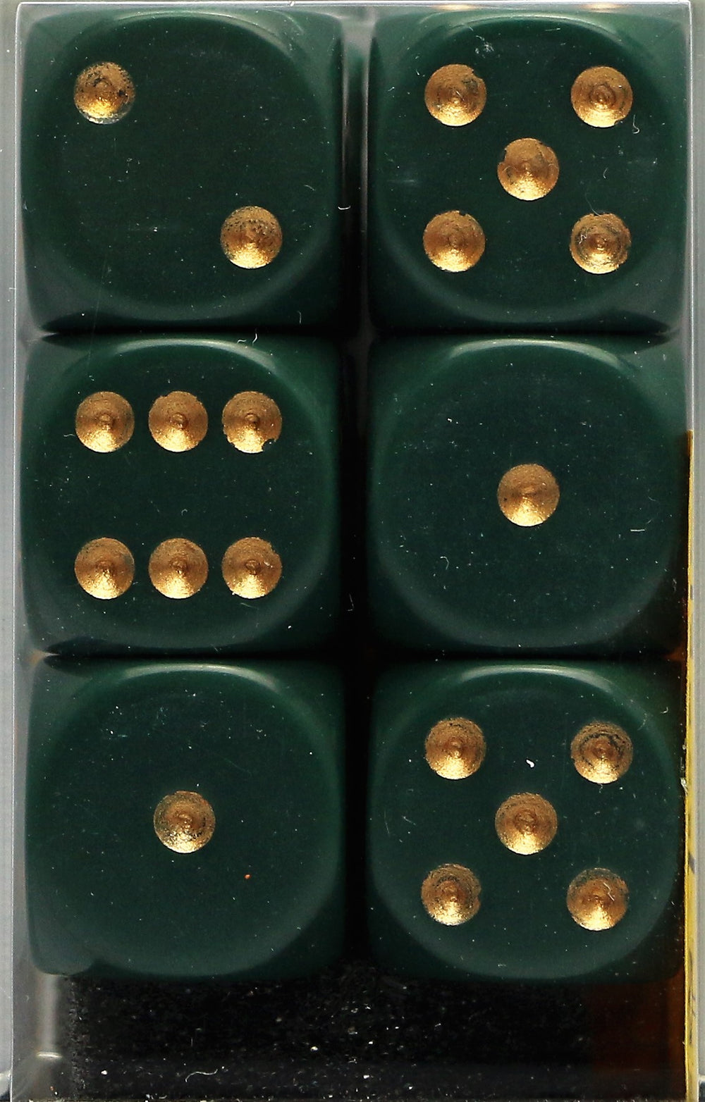 Chessex: 16mm D6 (12 Dice): Opaque: Dusty Green / Gold (25615)