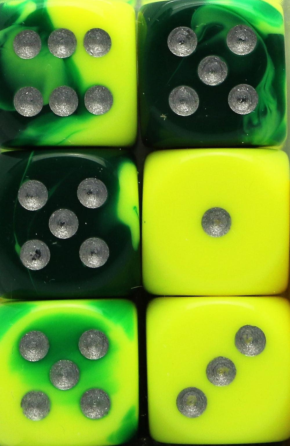 Chessex: 16mm D6 (12 Dice): Gemini: Green-Yellow / Silver (26654)
