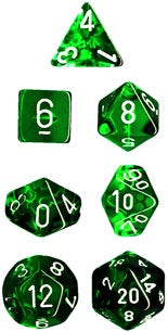 Chessex: Poly Set (7 Dice): Translucent: Green/White (23075)