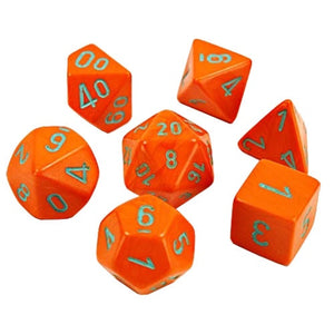 Chessex Dice: Poly Set (7): Lab Dice 4 Orange / Turquoise (30038)