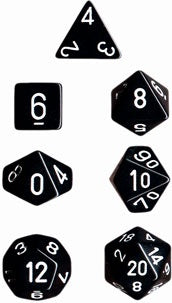 Chessex: Poly Set (7 Dice): Opaque:Black/White (25408)