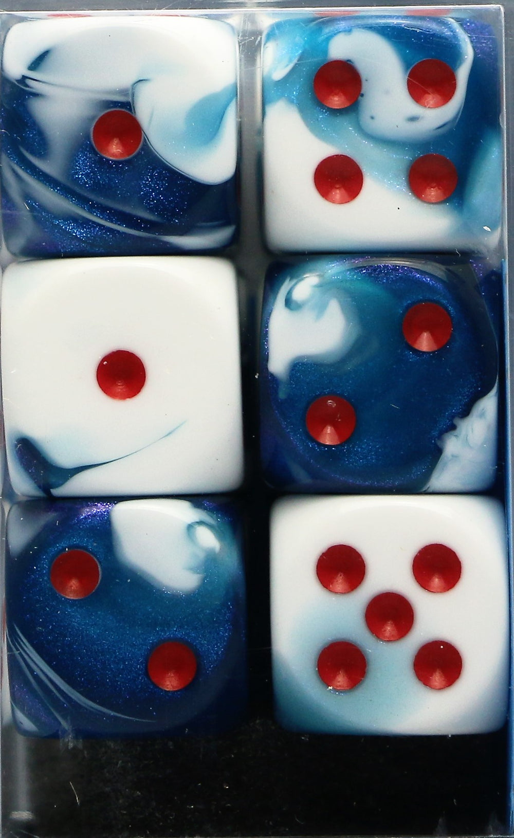 Chessex: 16mm D6 (12 Dice): Gemini: Astral Blue-White / Red (26657)