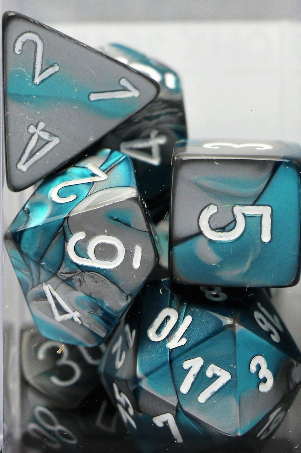 Chessex: Poly Set (7 Dice): Gemini: Steel-Teal / White (26456)