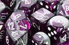 Chessex: 16mm D6 (12 Dice): Gemini: Purple-Steel / White (26632)