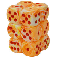 Chessex: 16mm D6 (12 Dice): Festive: Sunburst/Red (27653)