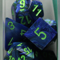 Chessex: Poly Set (7 Dice): Lustrous: Dark Blue / Green (27496)