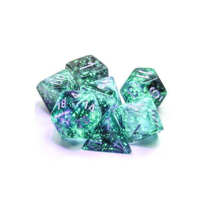 Chessex Dice Poly Set (7) Borealis: Light Smoke/Silver Luminary (27578)