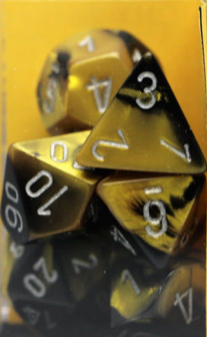 Chessex: Poly Set (7 Dice): Gemini: Black Gold/Silver (26451)