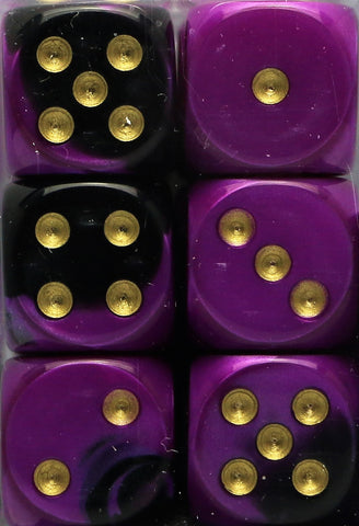 Chessex: 16mm D6 (12 Dice): Gemini: Black-Purple / Gold (26640)