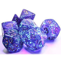 Chessex Dice Poly Set (7) Borealis: Royal Purple/Gold Luminary (27587)