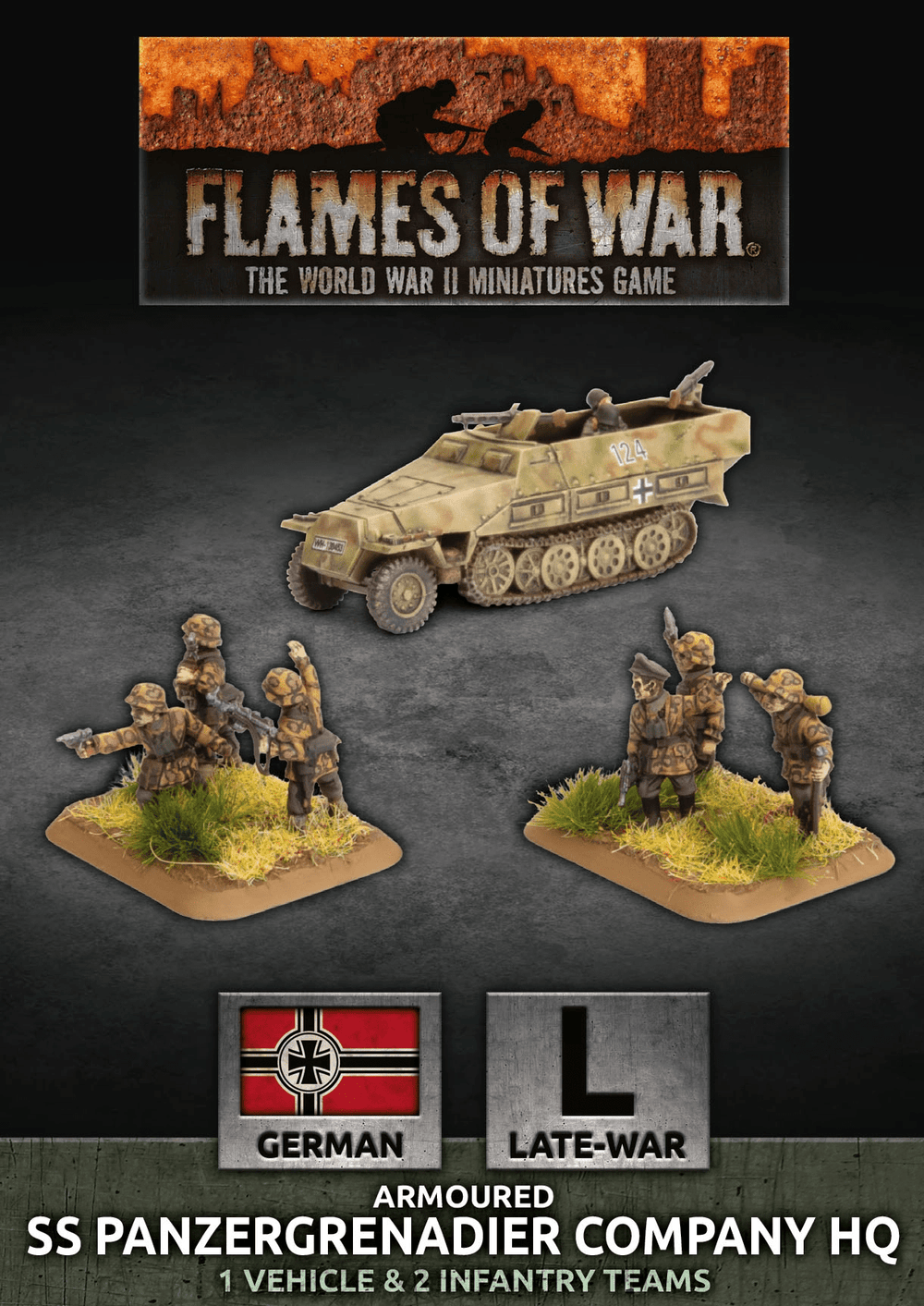 Flames of War: Late War German Waffen SS Armored Panzergrenadier Company HQ (GBX138)
